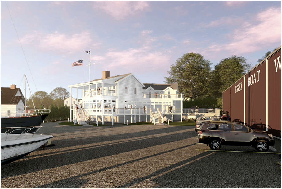 View of proposed marina building and waterfront restaurant near Essex Boat Works. Photo: Image By Centerbrook Architects