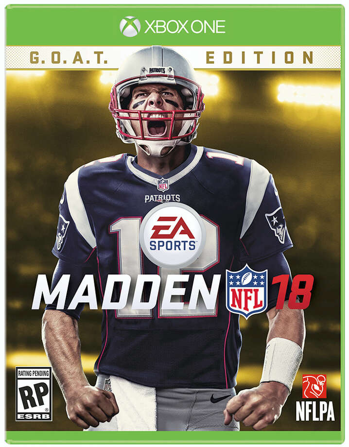 This image provided by EA Sports shows New England Patriots quarterback Tom Brady on the the cover of the Madden 18 video game. Brady truly has reached the pinnacle. The five-time Super Bowl champion will be the cover athlete for Madden 18, following his Patriots teammate and buddy Rob Gronkowski. Photo: Jamie O'Connell — EA Sports Via AP   / EA Sports
