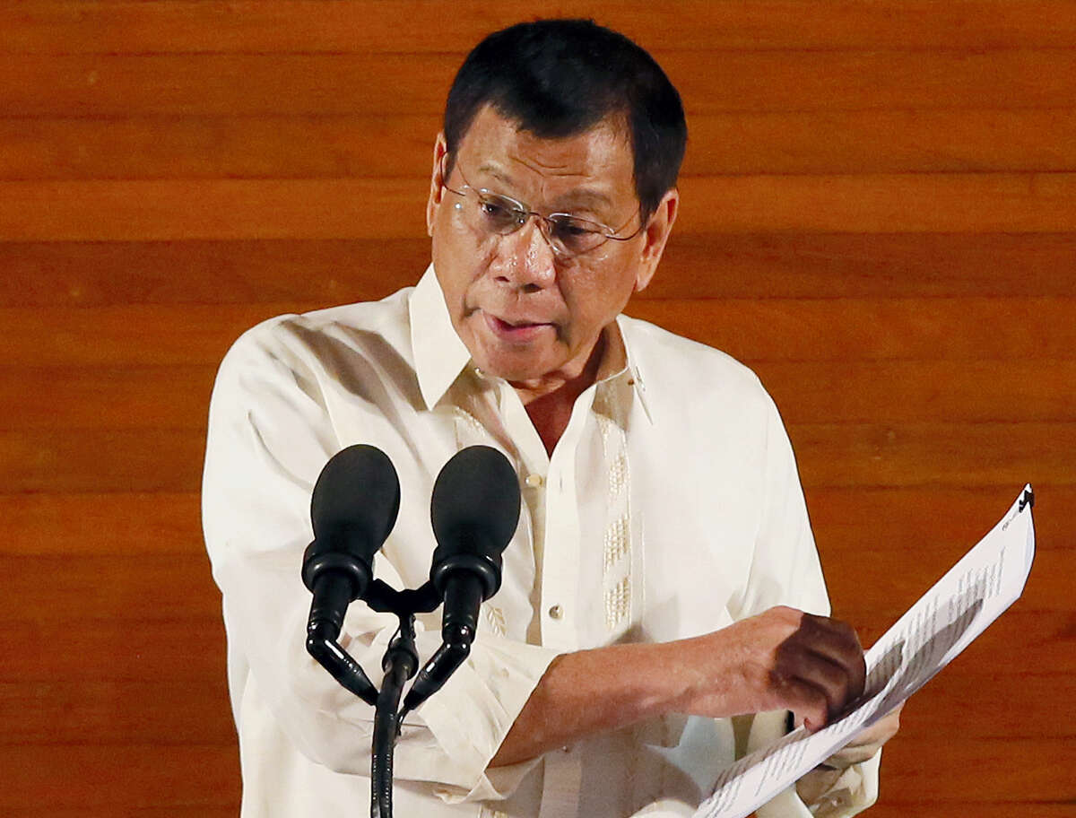 Bullit Marquez / the associated press Philippine President Rodrigo Duterte delivers his first State of the Nation Address before the joint session of the 17th Congress in suburban Quezon city, northeast of Manila, Philippines.