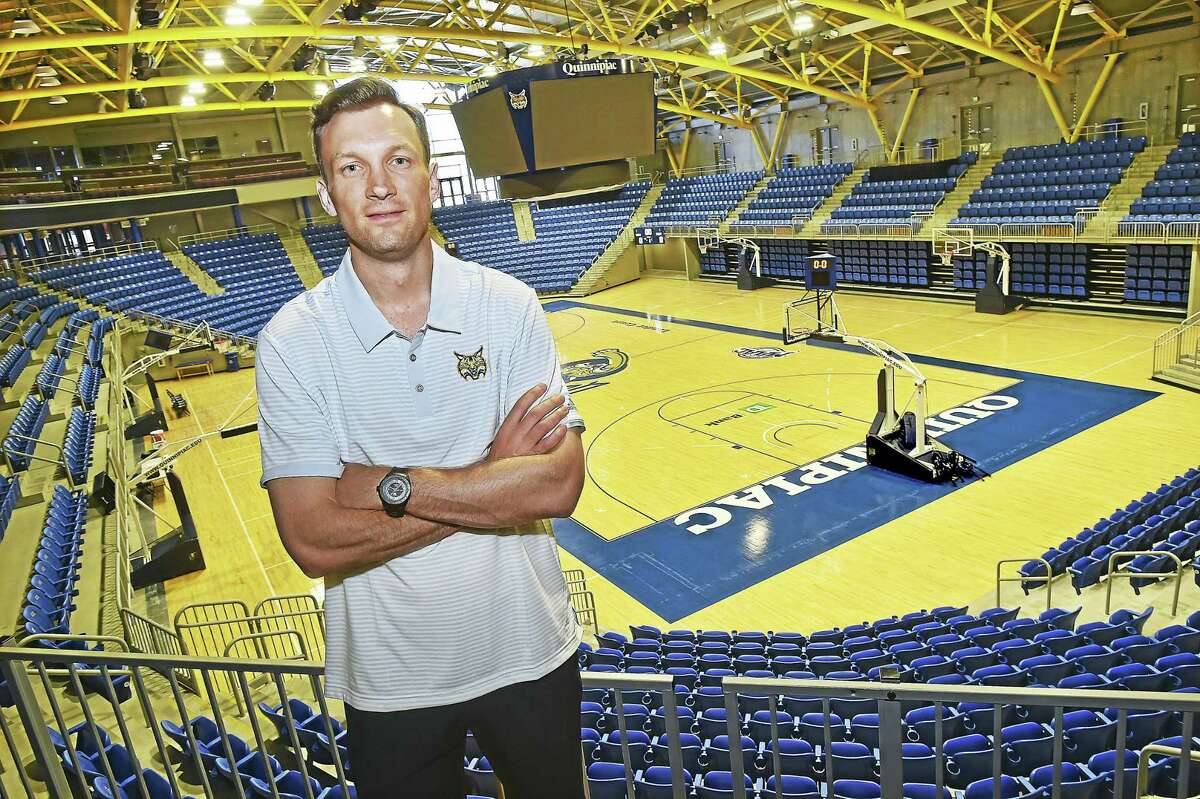 Quinnipiac's new basketball coach Baker Dunleavy at the TD Bank Sports Center in Hamden.