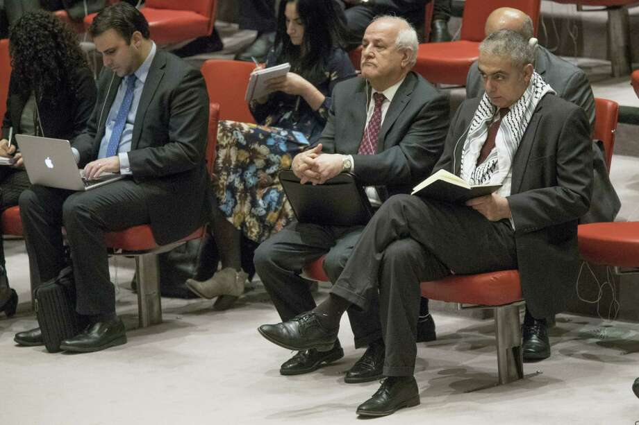 Palestine U.N. Ambassador Riyad Mansour, center, listens to the speakers during a Security Council meeting on the situation in the Middle East, including the Palestinian question on Feb. 16, 2017 at United Nations headquarters. Photo: AP Photo/Mary Altaffer   / Copyright 2017 The Associated Press. All rights reserved.