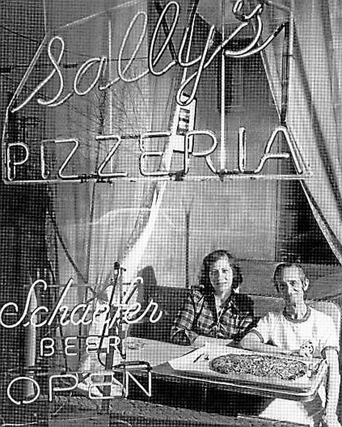 A vintage photo of the late Flo Consiglio and the late Sally (Salvatore) Consiglio of Sally's Pizza.