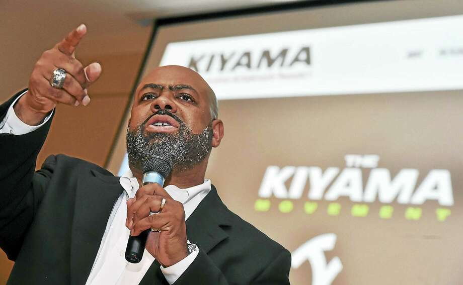 Michael Jefferson, founder of the Kiyama Movement, launched its Respect for Life campaign at the Curran Community Center at Gateway Community College in New Haven. Photo: Catherine Avalone — New Haven Register   / Catherine Avalone/New Haven Register