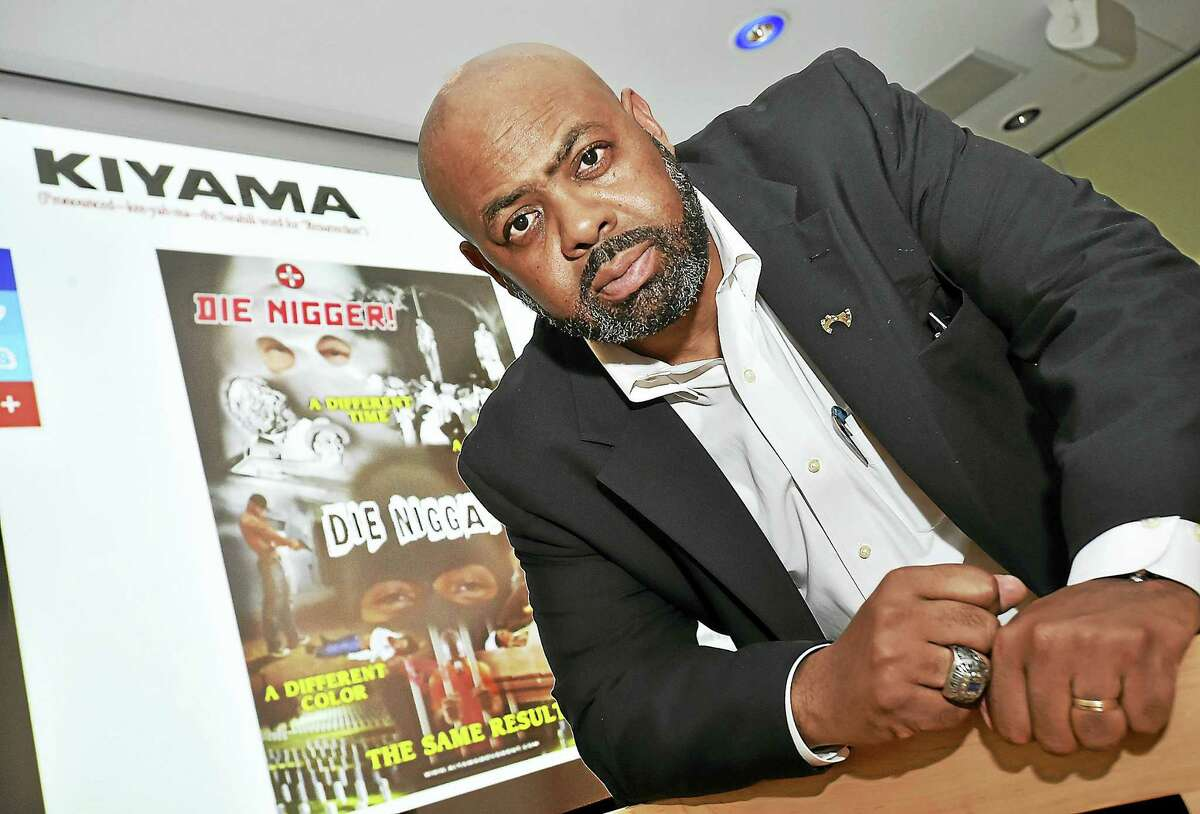Michael Jefferson, founder of the Kiyama Movement, launched its Respect for Life campaign at the Curran Community Center at Gateway Community College in New Haven. At the campaign kick-off, the issues were illustrated with a graphic poster depicting two eras of violence faced by blacks.