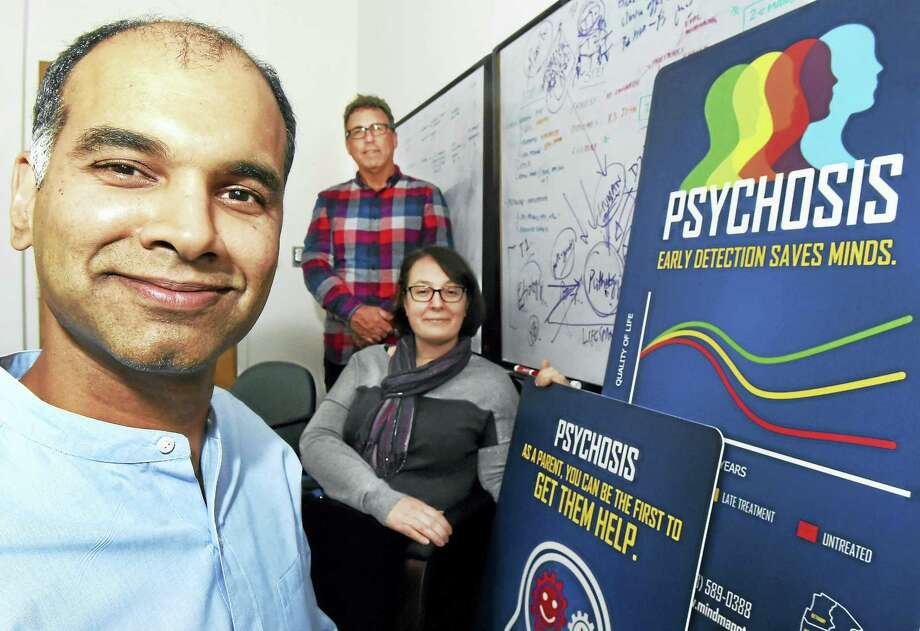 From left, Dr. Vinod H. Srihari of the Connecticut Mental Health Center and the director of Specialized Treatment Early in Psychosis  and MindMap; Glen McDermott , founder Red Rock Branding; and Jessica M. Pollard, program director of STEP; are seen at the Connecticut Mental Health Center Wednesday. Photo: Peter Hvizdak — New Haven Register   / ©2017 Peter Hvizdak
