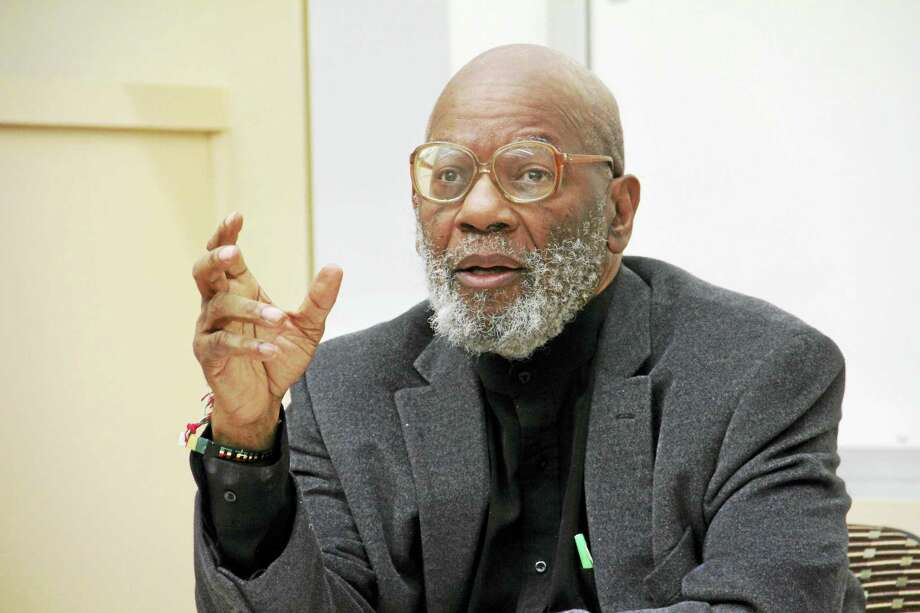 Manhattanville professor Jimmy Jones discusses race and the Black Lives Matter movement during a talk hosted by the Yale Divinity School Thursday in New Haven. Photo: Esteban L. Hernandez — New Haven Register