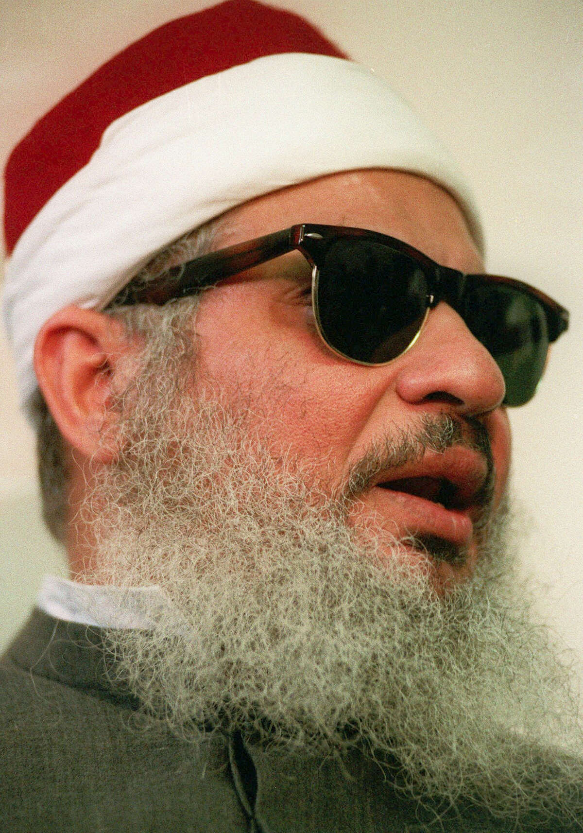 This April 6, 1993, file photo shows Sheik Omar Abdel-Rahman in New York. Kenneth McKoy of the Federal Correction Complex in Butner, N.C., said Abdel-Rahman died Saturday, Feb. 18, 2017, after a long battle with diabetes and coronary artery disease. Abdel-Rahman was sentenced to life in prison after his 1995 conviction for his advisory role in a plot to blow up landmarks, including the United Nations, and several bridges and tunnels.