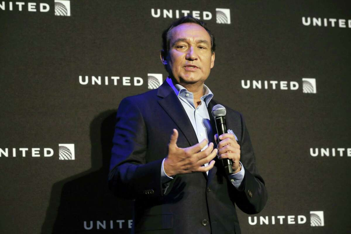 In this June 2, 2016, file photo, United Airlines CEO Oscar Munoz delivers remarks in New York, during a presentation of the carrier's new Polaris service. Video of police officers dragging a passenger from an overbooked United Airlines flight sparked an uproar Monday, April 10, 2017, on social media, but United's CEO defended his employees, saying they followed proper procedures and had no choice but to call authorities and remove the man.