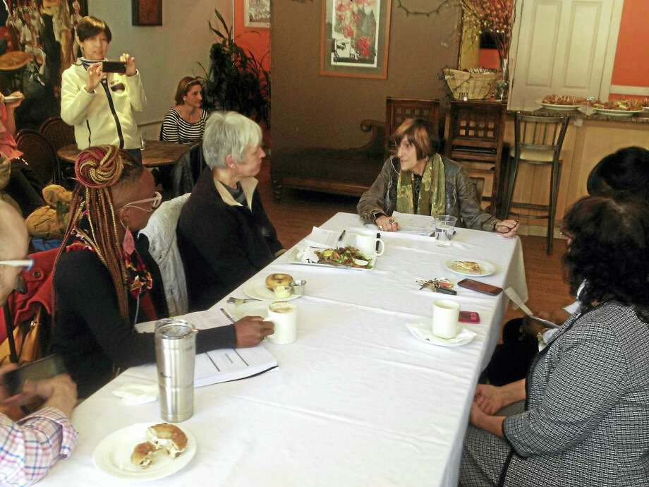 Congresswoman Rosa DeLauro, D-3, talks about what the repeal of the Affordable Care Act would mean to people during a roundtable discussion in New Haven. Photo: Mark Zaretsky — New Haven Register