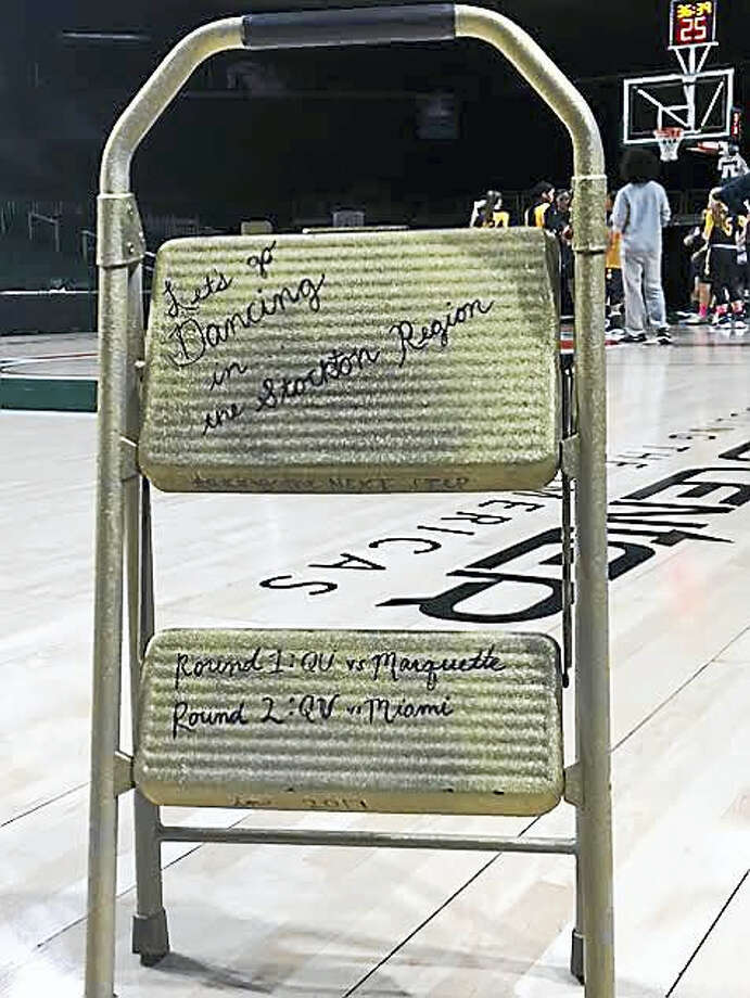 This step stool provides inspiration for the Quinnipiac women's basketball team as it climbs toward its goals. Photo: Submitted Photo