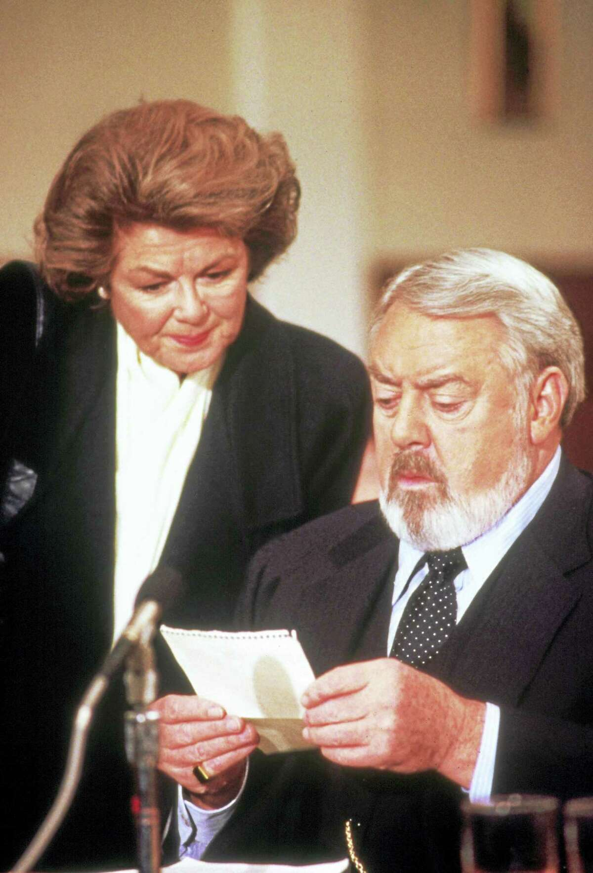 """No Merchandising. Editorial Use Only. Film still from """"Perry Mason: The Case of the Musical Murder"""" from 1992, with Barbara Hale as secretary Della Street and Raymond Burr as Perry Mason."""