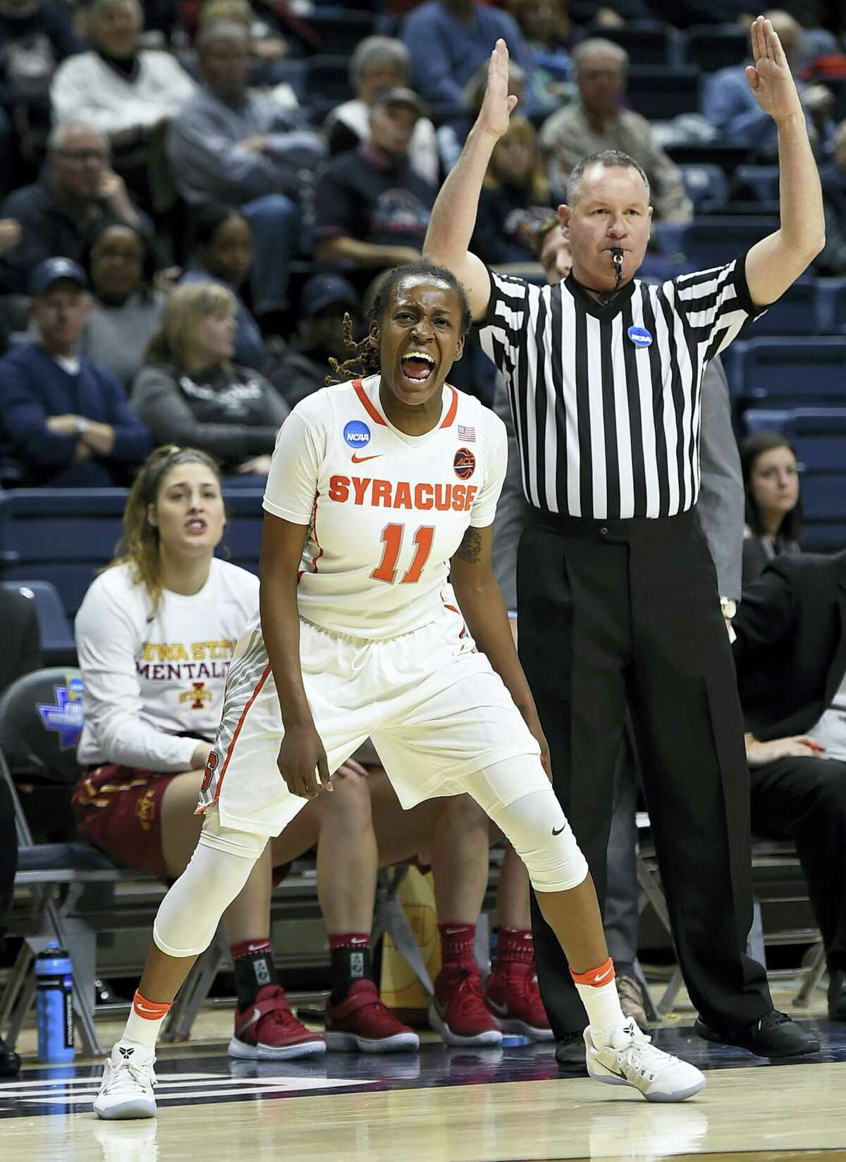 Syracuse's Gabby Cooper reacts after hitting a 3-pointer against Iowa State on Saturday.