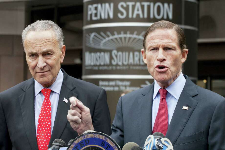 Sen. Richard Blumenthal, D-Conn., right, and Sen. Charles Schumer, D-N.Y., hold a news conference outside New York's Penn Station. Photo: Mark Lennihan — AP File Photo   / AP