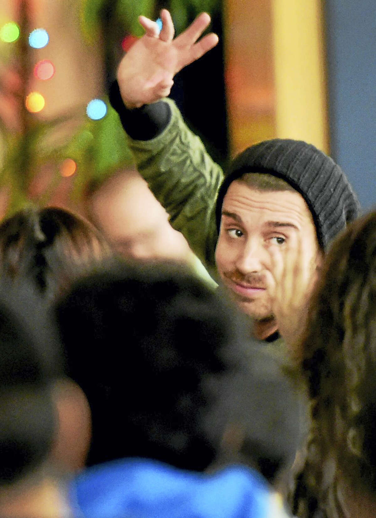 """American Idol"" Nick Fradiani is introduced as a judge during Wednesday's poetry slam at Hill Central School in New Haven."