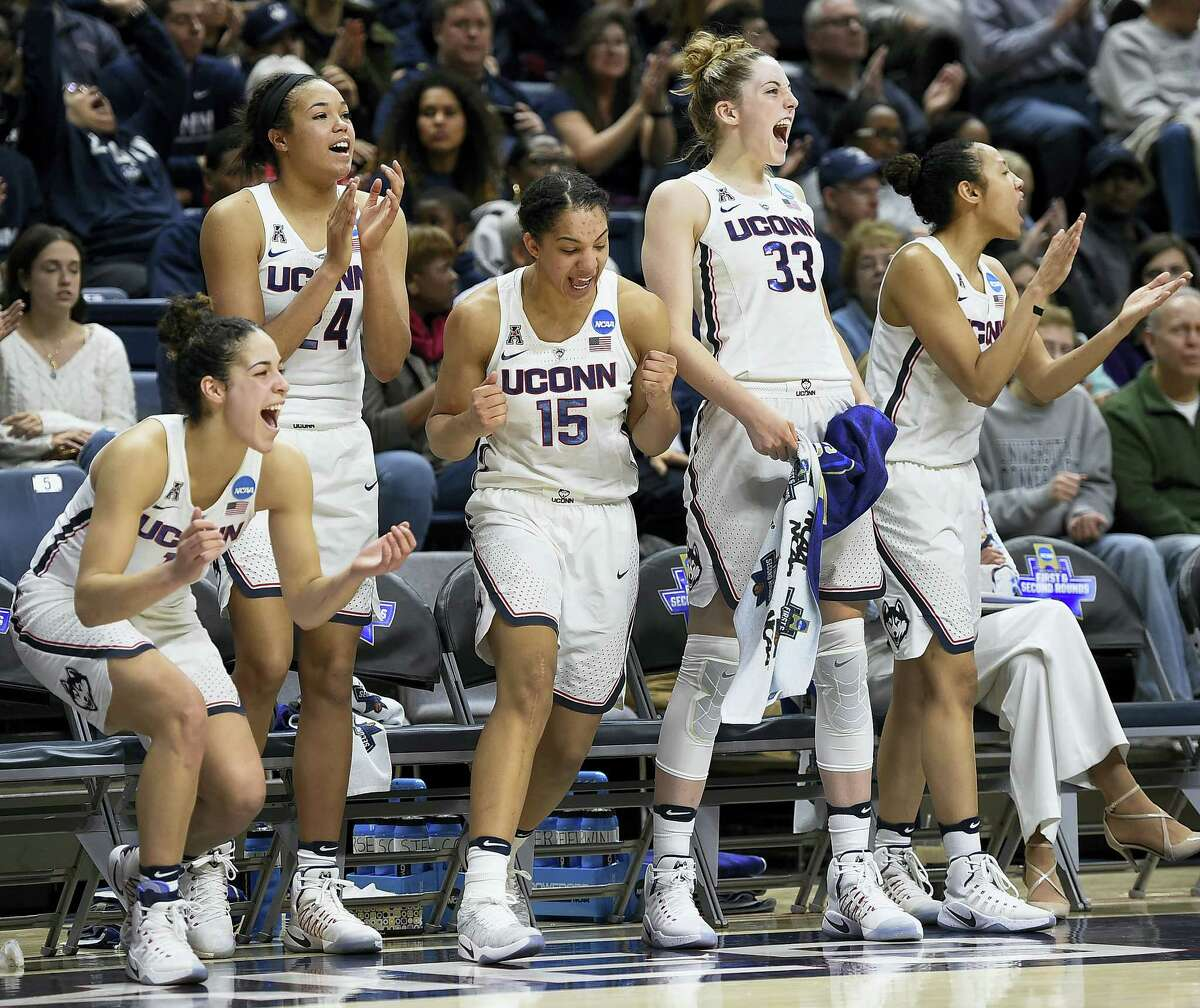 From left, UConn's Kia Nurse, Napheesa Collier, Gabby Williams, Katie Lou Samuelson and Saniya Chong react during the second half of Saturday's NCAA tournament first-round game against Albany in Storrs.