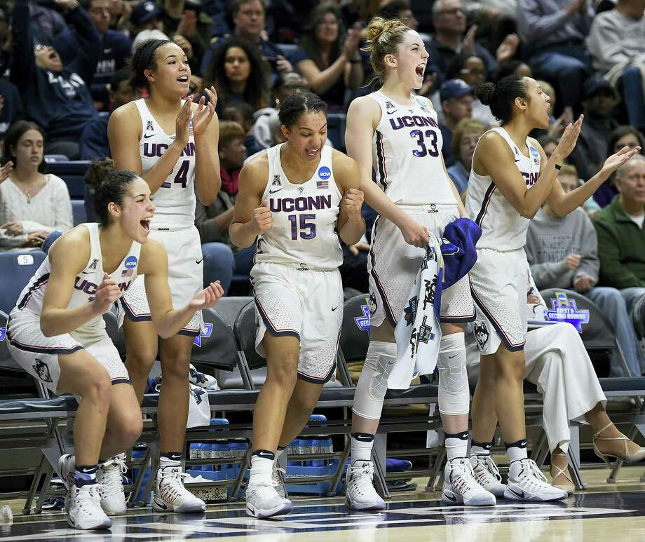 From left, UConn's Kia Nurse, Napheesa Collier, Gabby Williams, Katie Lou Samuelson and Saniya Chong react during the second half of Saturday's NCAA tournament first-round game against Albany in Storrs. Photo: Jessica Hill — The Associated Press   / AP2017