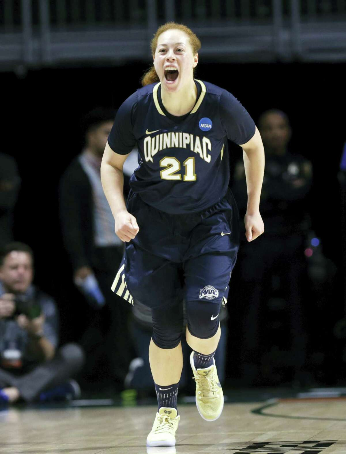Quinnipiac's Jen Fay reacts after shooting a 3-pointer against Marquette in an NCAA tournament first-round game on Saturday.