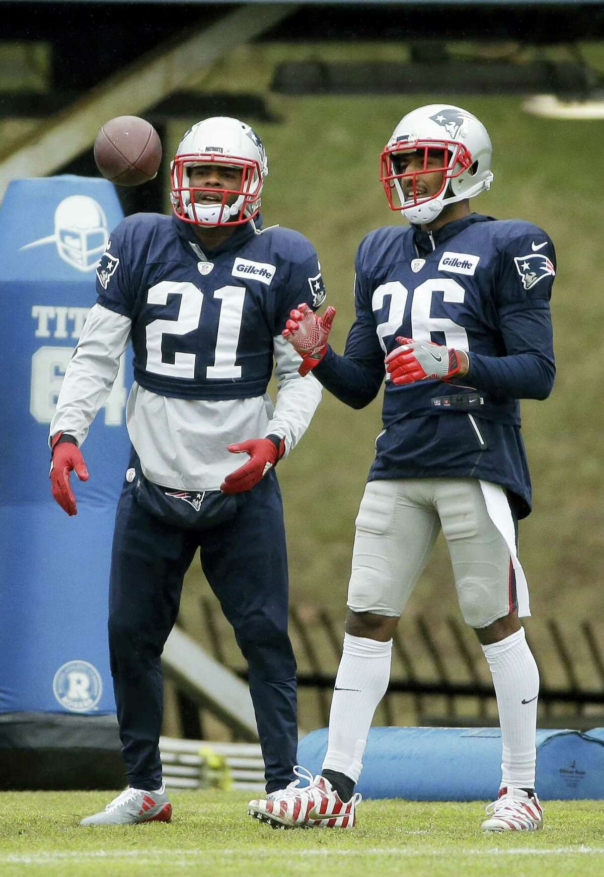 Patriots cornerbacks Malcolm Butler (21) and Logan Ryan (26) will look to slow the Falcons, who were the league's top scoring offense.
