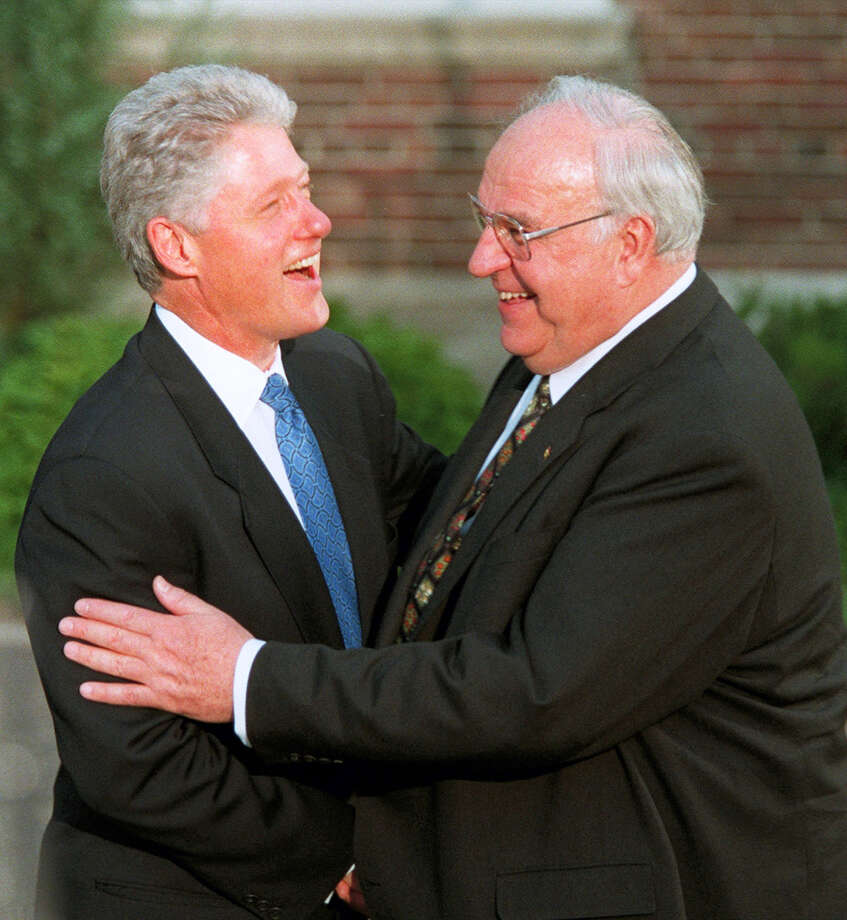 The June 20, 1997 file photo shows President Clinton welcomes German Chancellor Helmut Kohl prior to a formal dinner for the leading dignitaries of the Summit of the Eight at the University of Denver's Phipps House in Denver. Photo: AP Photo/Alexander Zemlianichenko    / Copyright 2016 The Associated Press. All rights reserved. This material may not be published, broadcast, rewritten or redistribu