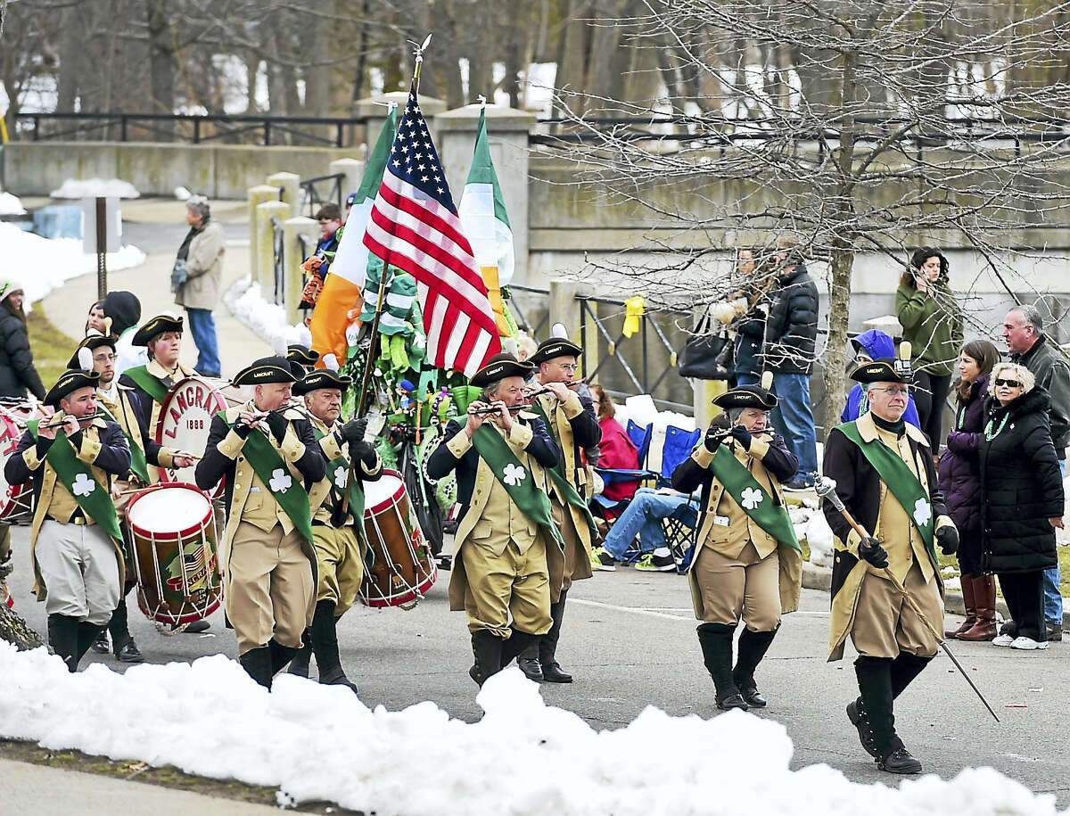 The Lancraft Fife and Drum Corps of North Haven marches during the Milford St. Patrick's Day Parade, Milford Connecticut, Saturday, March 18, 2017. See Photo Gallery of the St. Patrick's Day at photos.newhavenregister.com
