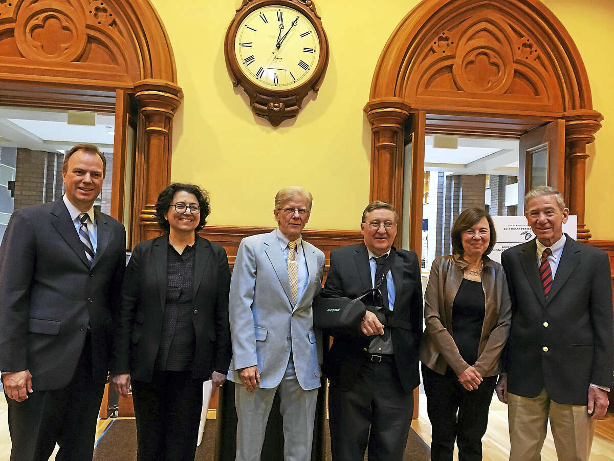 The New Haven Preservation Trust awards went to from left: Dev Hayley, Cathy Jackson, Christopher Schaefer, Henry Dynia, Betsy Grauer and Len Grauer