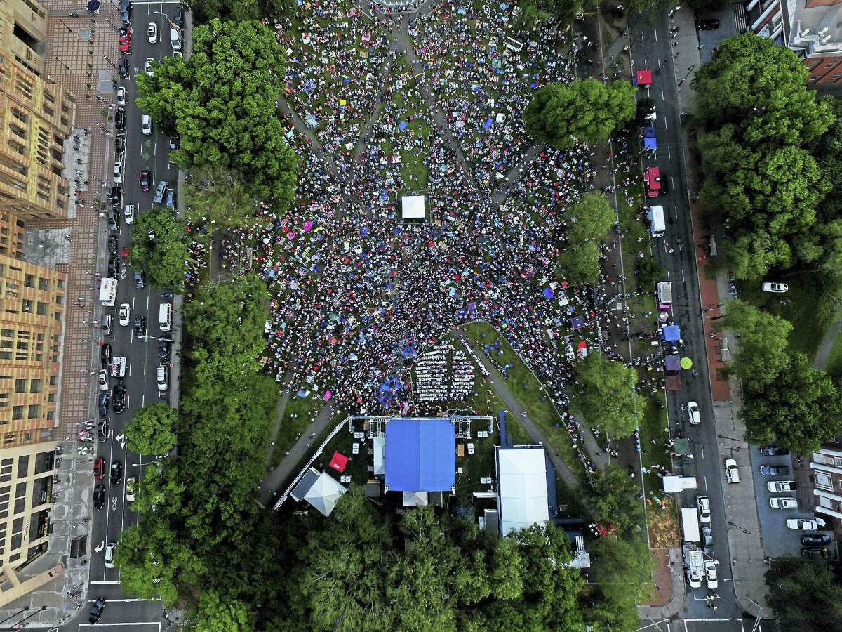 An aerial view of a past concert night on the New Haven Green.