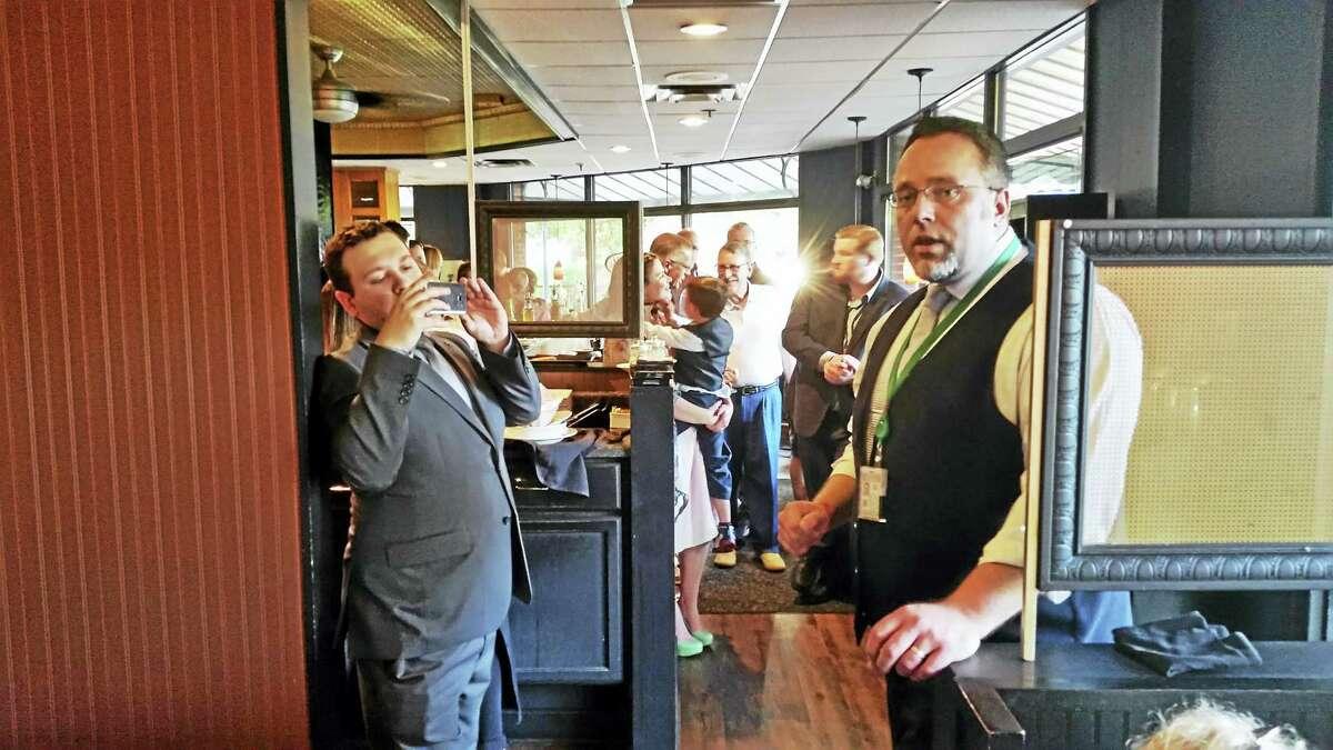 KATE RAMUNNI — NEW HAVEN REGISTER Hamden Mayor Curt Balzano Leng announced he will seek a second full term during a fundraiser at Mickey's Restaurant Wednesday.