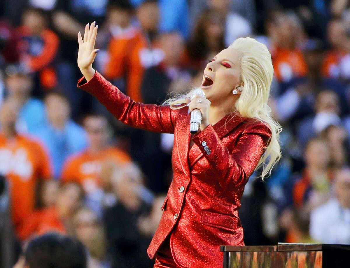 Lady Gaga sings the national anthem before the NFL Super Bowl 50 football game in Santa Clara, Calif in 2016.