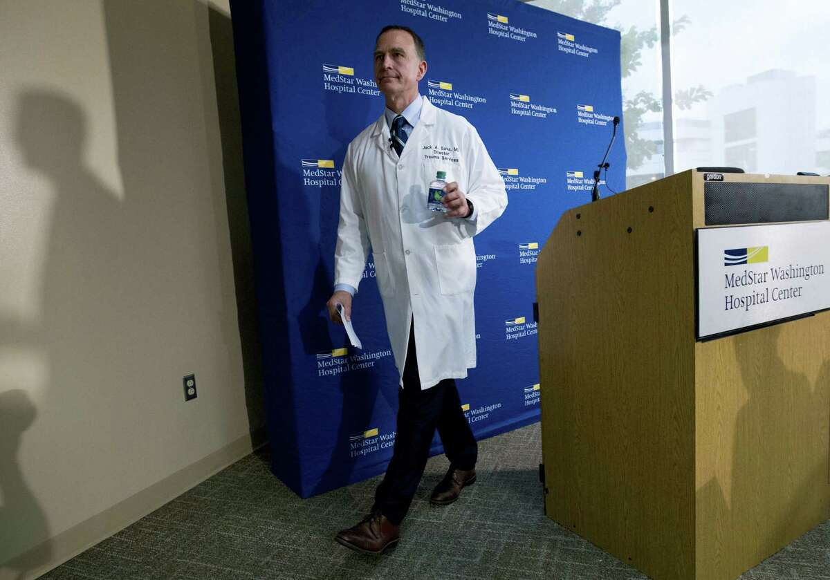 MedStar Washington Hospital Center Director of Trauma Dr. Jack Sava leaves a news conference in Washington, Friday, June 16, 2017, about the condition of House Majority Whip Steve Scalise of La. who was shot in Alexandria, Va., Wednesday, June 14, 2017, during a congressional baseball practice.