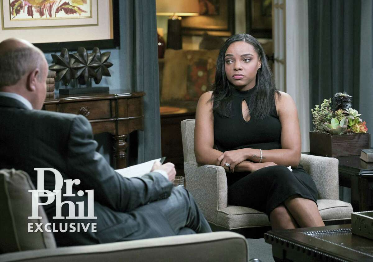 """This image released by CBS Television Distribution shows Shayanna Jenkins-Hernandez, fiancee of former NFL player Aaron Hernandez, during an interview on the """"Dr. Phil"""" show. The two-part interview is scheduled to air Monday and Tuesday."""