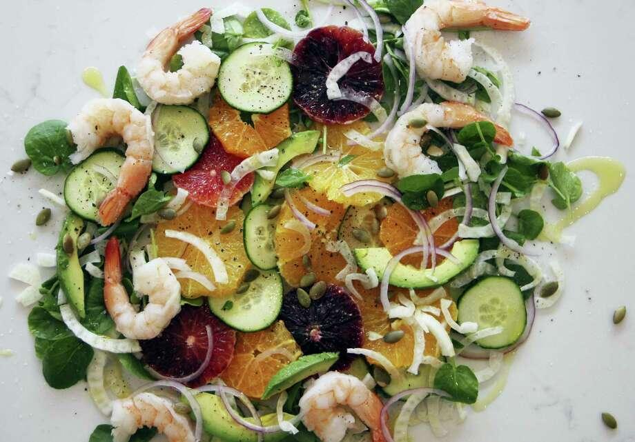 Orange and cucumber salad with shrimp Photo: Melissa D'Arabian Via AP   / Melissa d'Arabian
