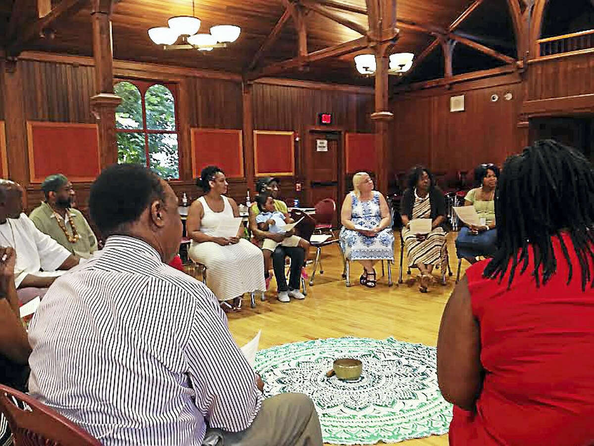 New Haven Public Schools stakeholders meet for a restorative circle on June 13 on Betsy Ross Arts Magnet School's campus.
