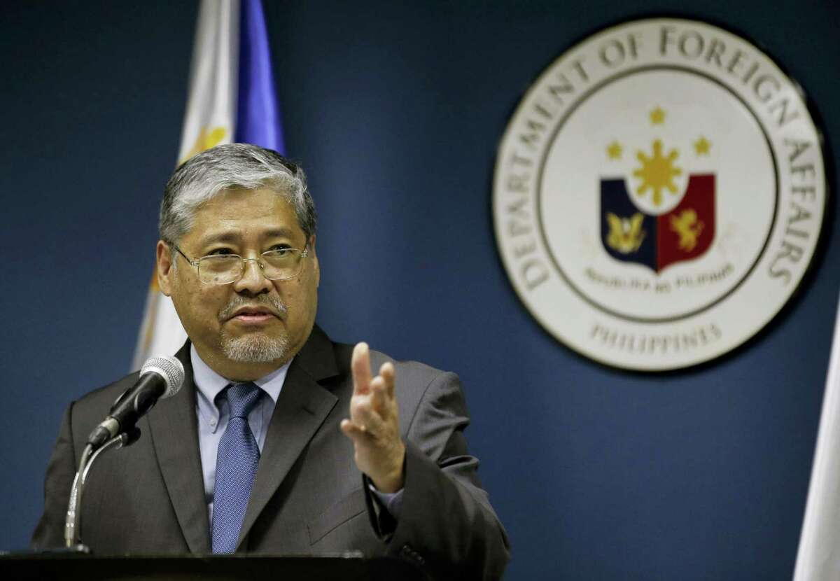 Acting Philippine Foreign Secretary Enrique Manalo answers questions from reporters in Manila, Philippines, Thursday, March 16, 2017. Australia urged Southeast Asian nations and China to conclude a legally-binding code of conduct in the South China Sea as soon as possible, voicing concern Thursday to the scale of reclamation and construction by China in the disputed territory. Manalo said in a separate news conference that diplomats from ASEAN member states and China were progressing in efforts to draft a framework of the code although he refused to provide details.
