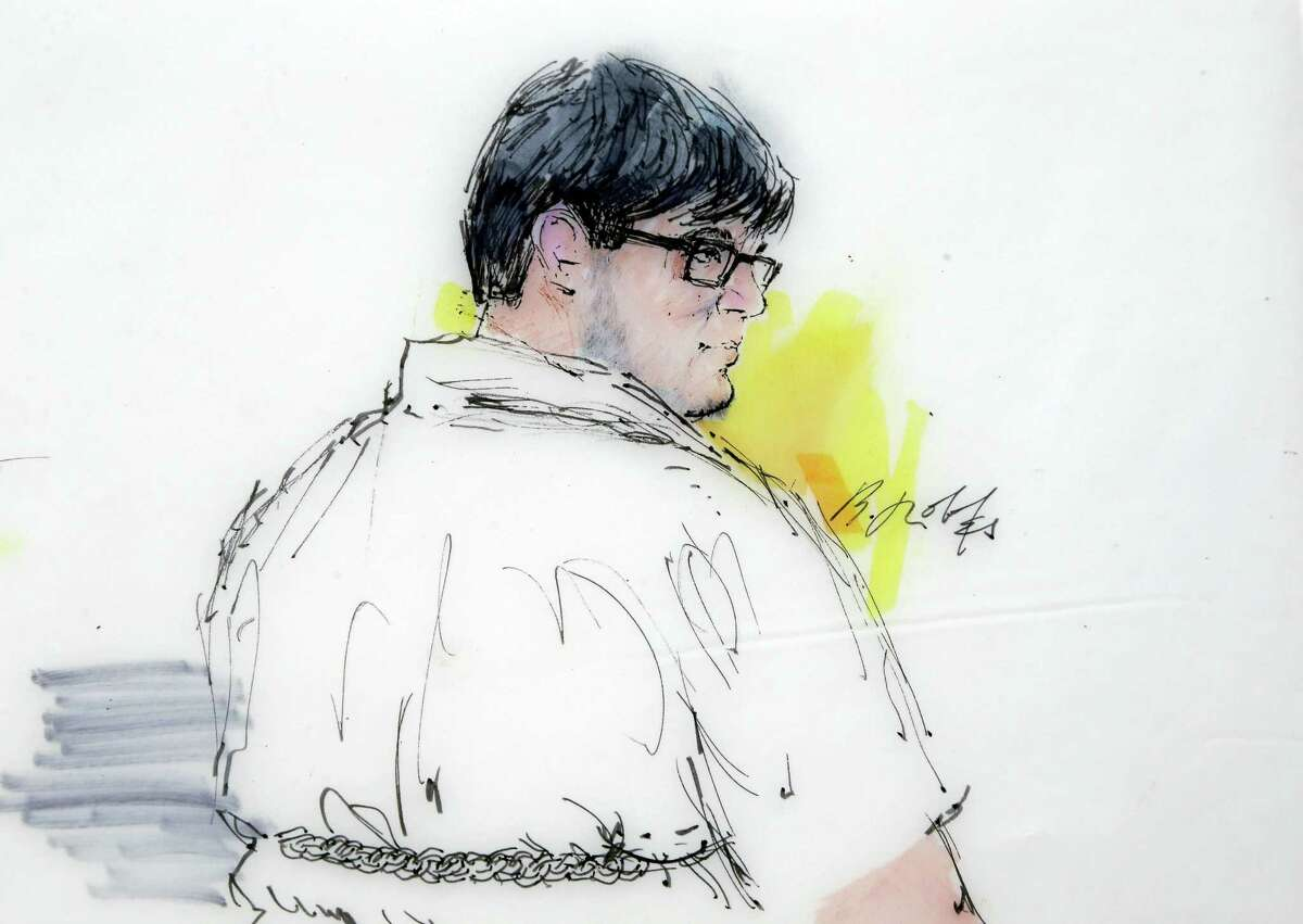 This courtroom file sketch shows Enrique Marquez Jr. in federal court in Riverside, Calif.
