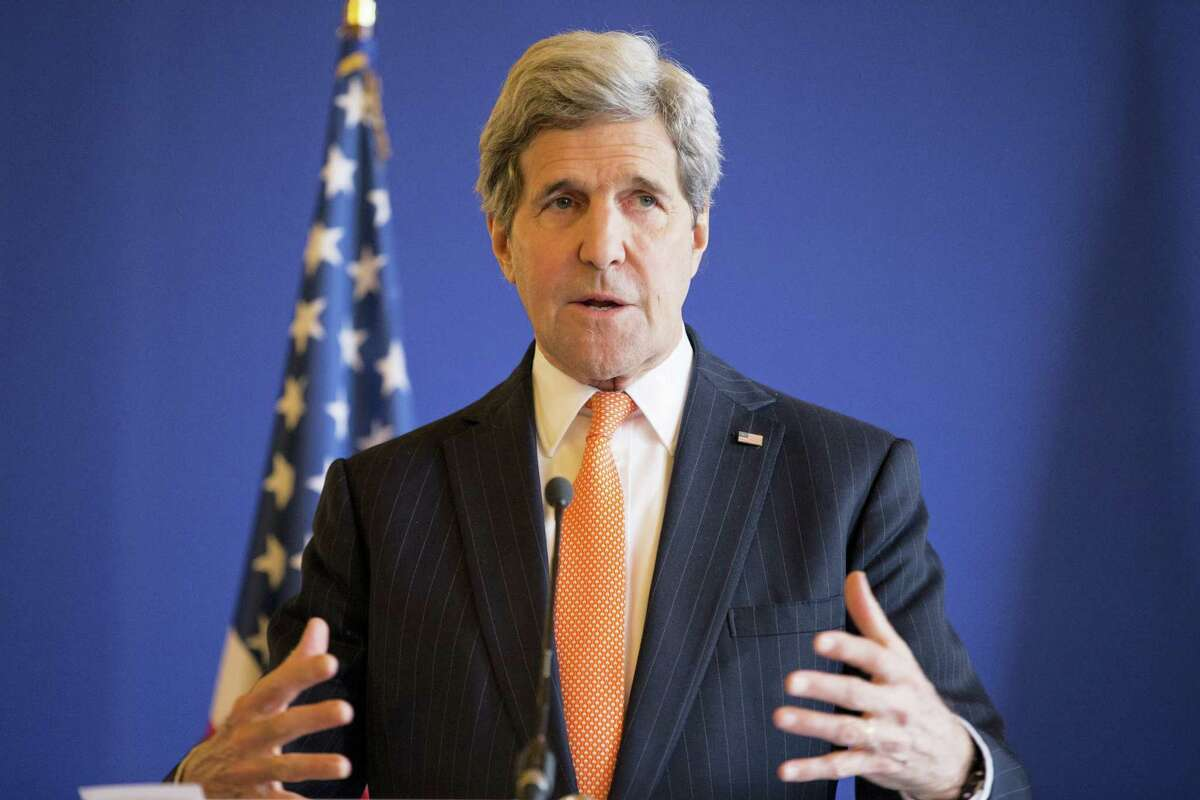 Secretary of State John Kerry speaks to the media during a news conference 2015.