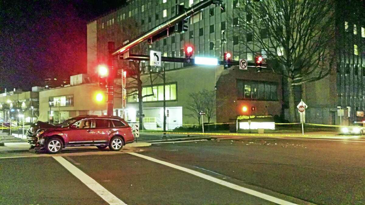 A pedestrian was struck at the intersection of College Street and North Frontage Road Monday night in New Haven.