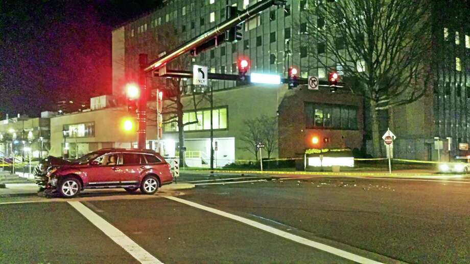 A pedestrian was struck at the intersection of College Street and North Frontage Road Monday night in New Haven. Photo: Anna Bisaro — New Haven Register