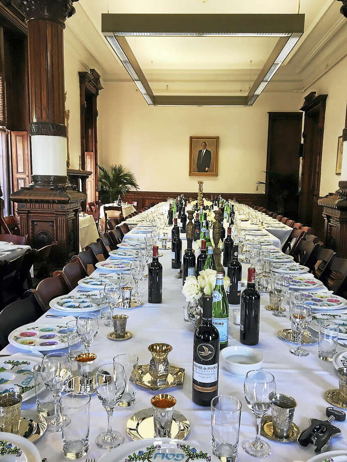 Seventy-five guests of the Shabtai at Yale held a Seder at the former St. Mary's convent and high school on Orange Street Monday in New Haven. Photo: Mary O'Leary — New Haven Register