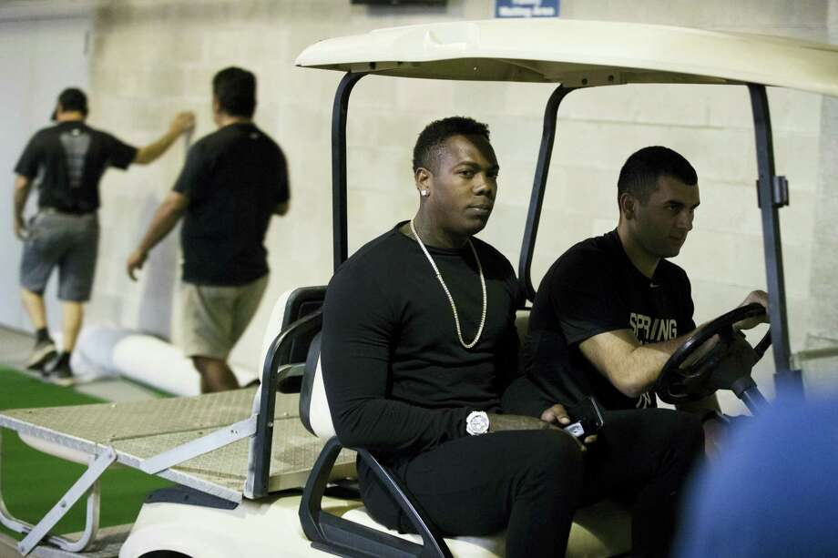 New York Yankees' Aroldis Chapman arrives for baseball spring training Tuesday in Tampa, Fla. Photo: Matt Rourke — The Associated Press   / Copyright 2017 The Associated Press. All rights reserved.