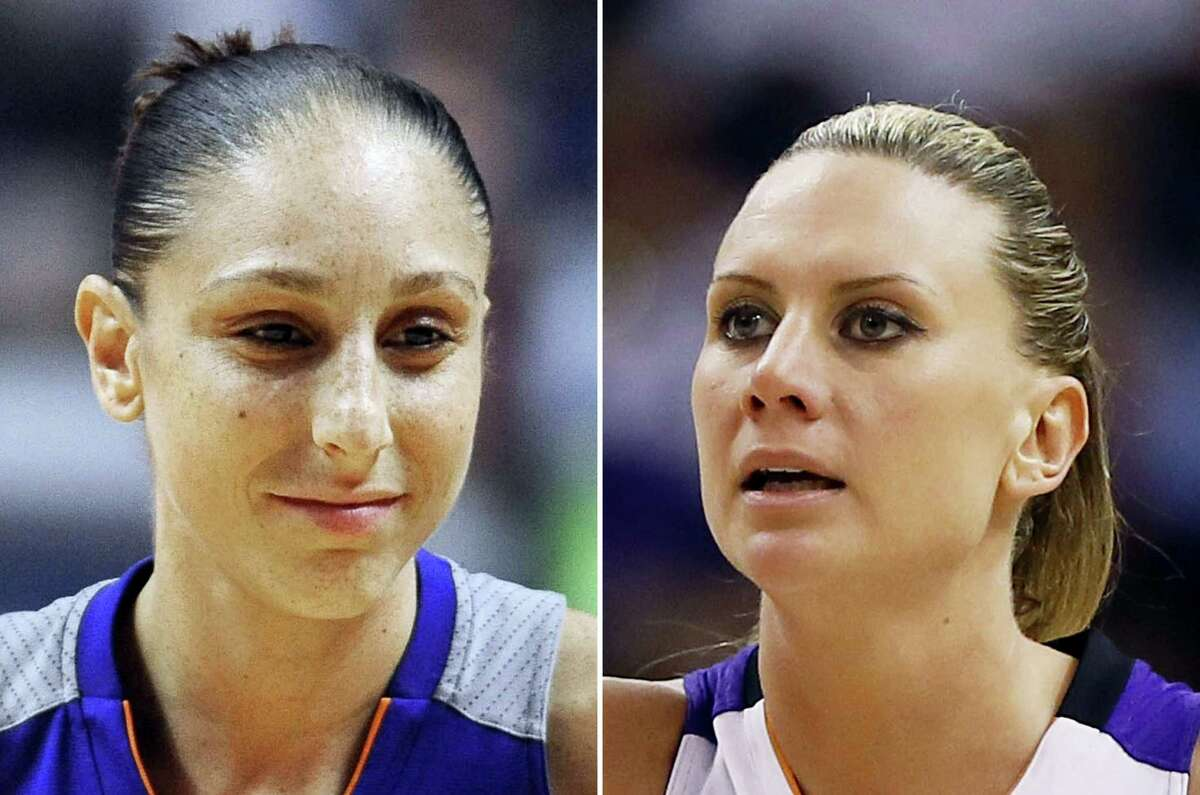 At left, in a Sept. 2, 2016 photo, Phoenix Mercury's Diana Taurasi is shown during the second half of a WNBA basketball game in Uncasville, Conn. At right, in a Sept. 9, 2014 photo, Phoenix Mercury forward Penny Taylor is shown during the second half of Game 2 of the WNBA basketball finals against the Chicago Sky in Phoenix. Diana Taurasi has married former Phoenix Mercury teammate Penny Taylor, then played in the team's season opener less than 24 hours later. The couple married May 13, 2017.