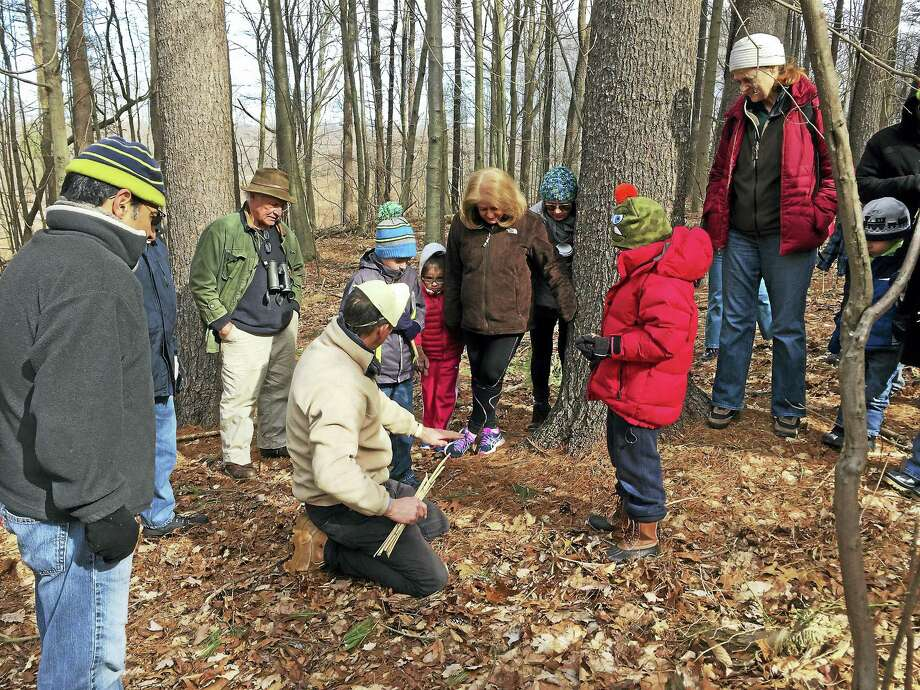 A previous animal tracking class. Photo: Photo Courtesy Of Branford Land Trust