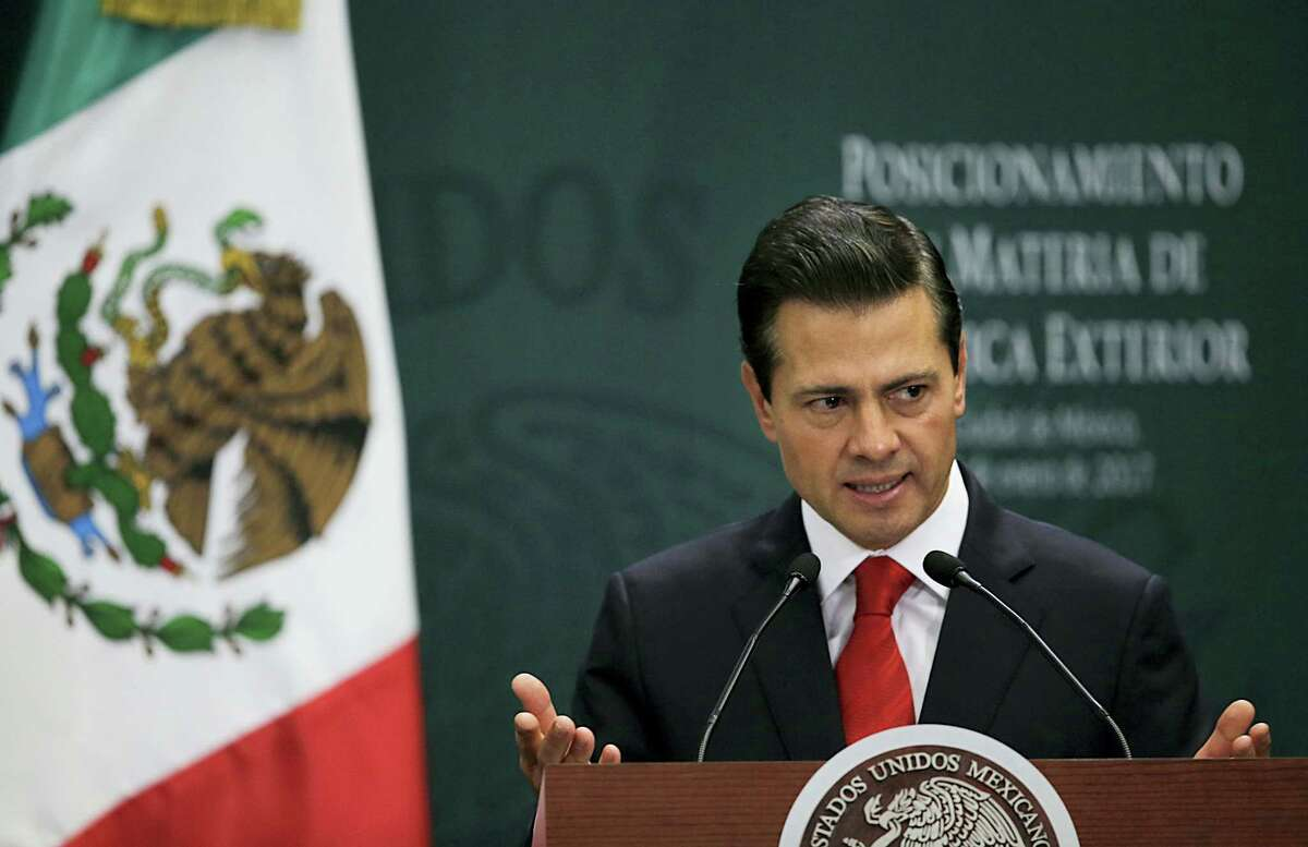 Mexico's President Enrique Pena Nieto speaks during a press conference at Los Pinos presidential residence in Mexico City, Monday, Jan. 23, 2017.