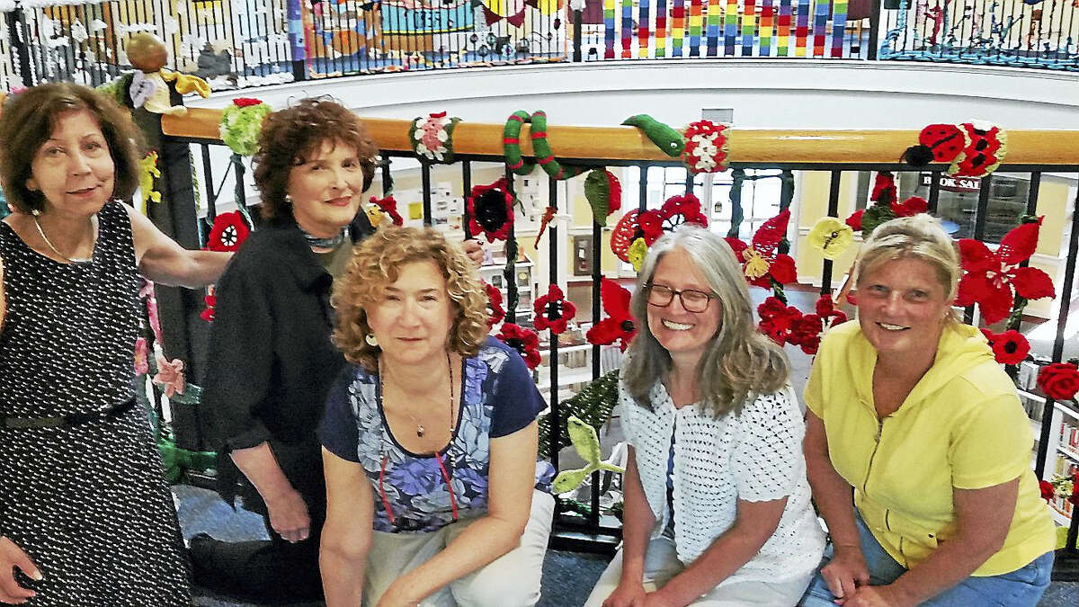 From left, Library Director Meryl Farber, Friends of Case Memorial Library President Leslie Wasserman, anniversary project committee Co-Chairwoman Lucia Bloom, Laurel Brown and Christine Crocker.