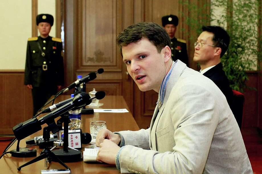 Kim Kwang Hyon/THE ASSOciated press   American student Otto Warmbier speaks during a press conference in Pyongyang, North Korea. Photo: AP / AP