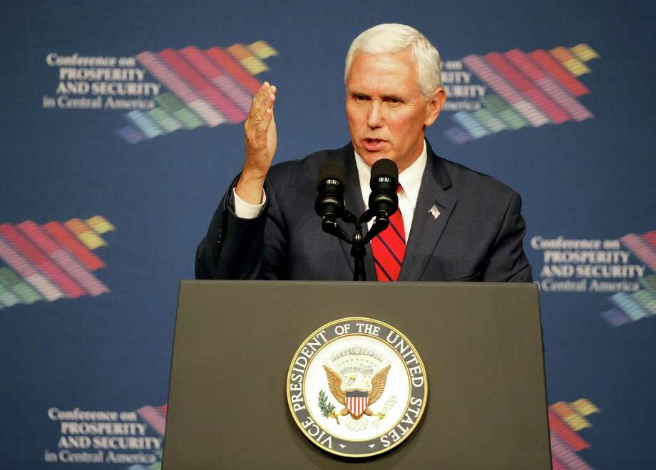 Vice President Mike Pence speaks during a conference on Prosperity and Security in Central America, Thursday, June 15, 2017, in Miami. Photo: AP Photo / Wilfredo Lee, Pool   / POOL/AP