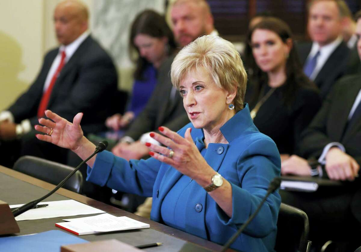 In this Jan. 24, 2017 photo, Small Business Administration Administrator-nominee,former wrestling entertainment executive, Linda McMahon testifies on Capitol Hill in Washington at her confirmation hearing. McMahon is on track to secure Senate confirmation to be the next leader of the Small Business Administration.