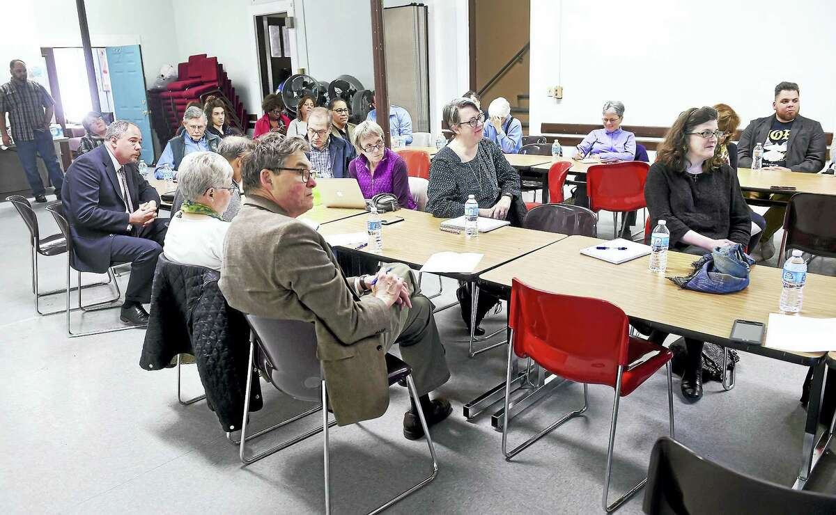 (Arnold Gold-New Haven Register) Faith based leaders meet concerning sanctuary for immigrants at Iglesia de Dios Pentecostal Church in New Haven on 4/9/2017.