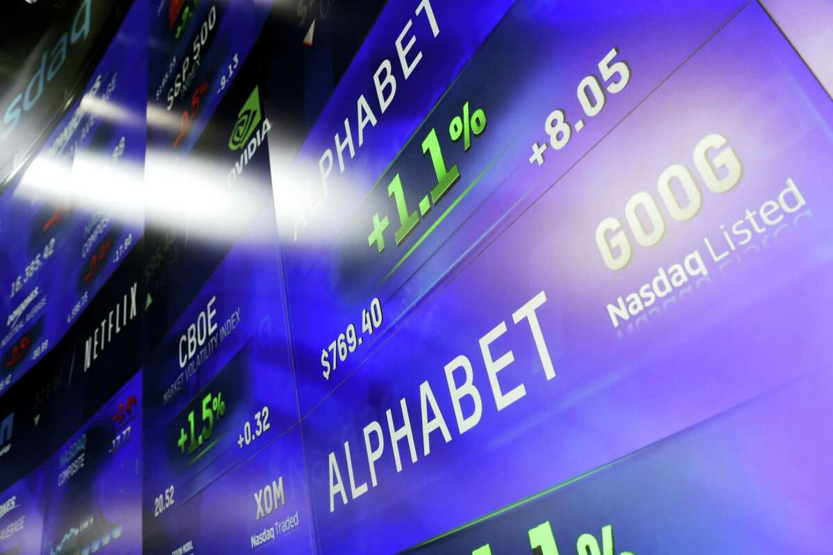 Electronic screens post prices of Alphabet stock at the Nasdaq MarketSite in New York in 2016.