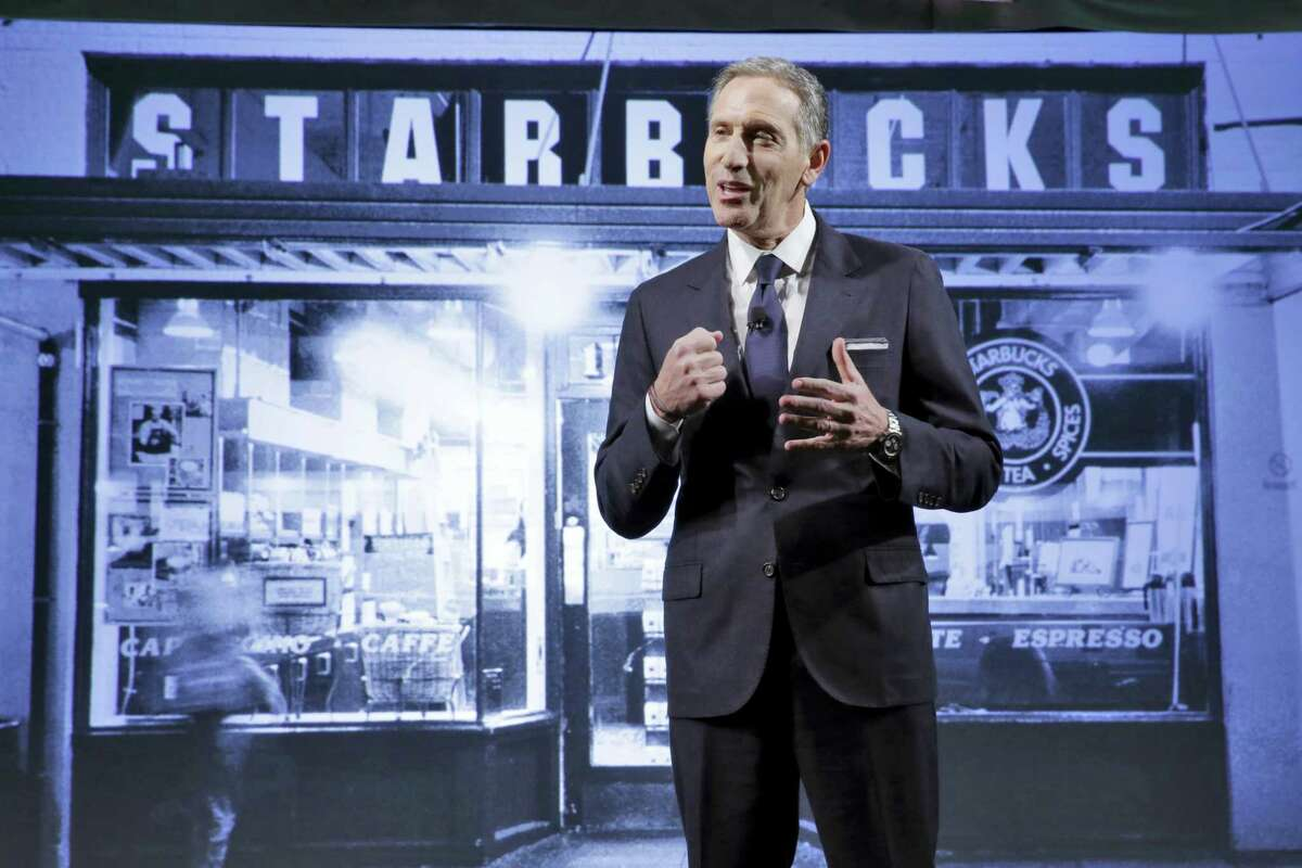 Starbucks Chairman and CEO Howard Schultz presents during the Starbucks 2016 Investor Day meeting, in New York.