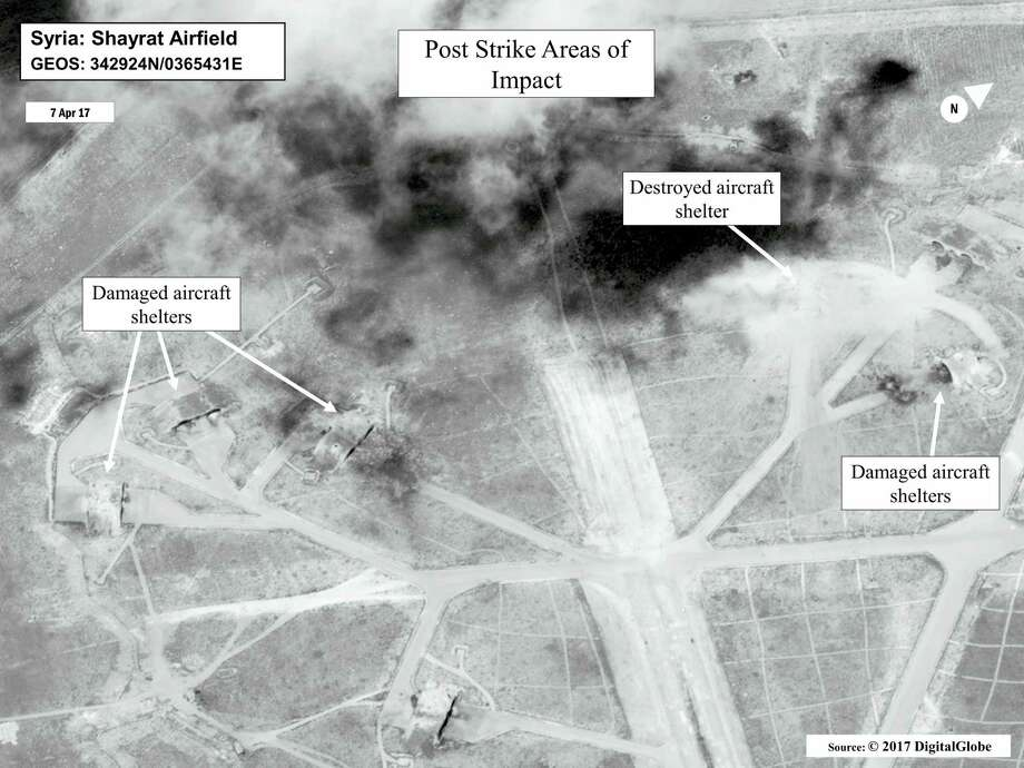 This satellite image released by the U.S. Department of Defense shows a damage assessment image of Shayrat air base in Syria, following U.S. Tomahawk Land Attack Missile strikes on Friday, April 7, 2017, from the USS Ross (DDG 71) and USS Porter (DDG 78), Arleigh Burke-class guided-missile destroyers. The United States blasted the air base with a barrage of cruise missiles on Friday, April 7, 2017, in fiery retaliation for this week's gruesome chemical weapons attack against civilians. Photo: DigitalGlobe/U.S. Department Of Defense Via AP    / Public Domain